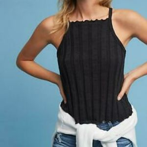 Anthro Akemi + Kin Black Ribbed Knit Halter Tank